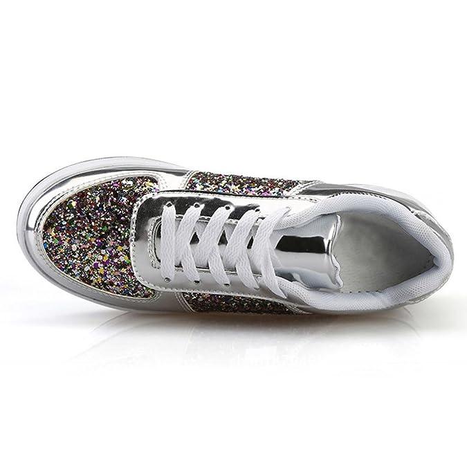 Femme Lacets Compensées Baskets Paillettes Chaussures Overdose Xxw0qZ0