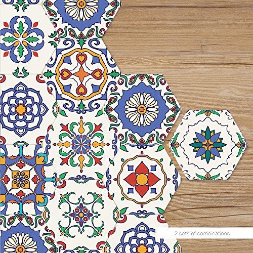 VANCORE Hexagon Floor Tile Stickers Peel and Stick Tile Backsplash Stickers for Kitchen Bathroom Waterproof DIY Floor Tiles 4.53x7.87 10 Pcs/set