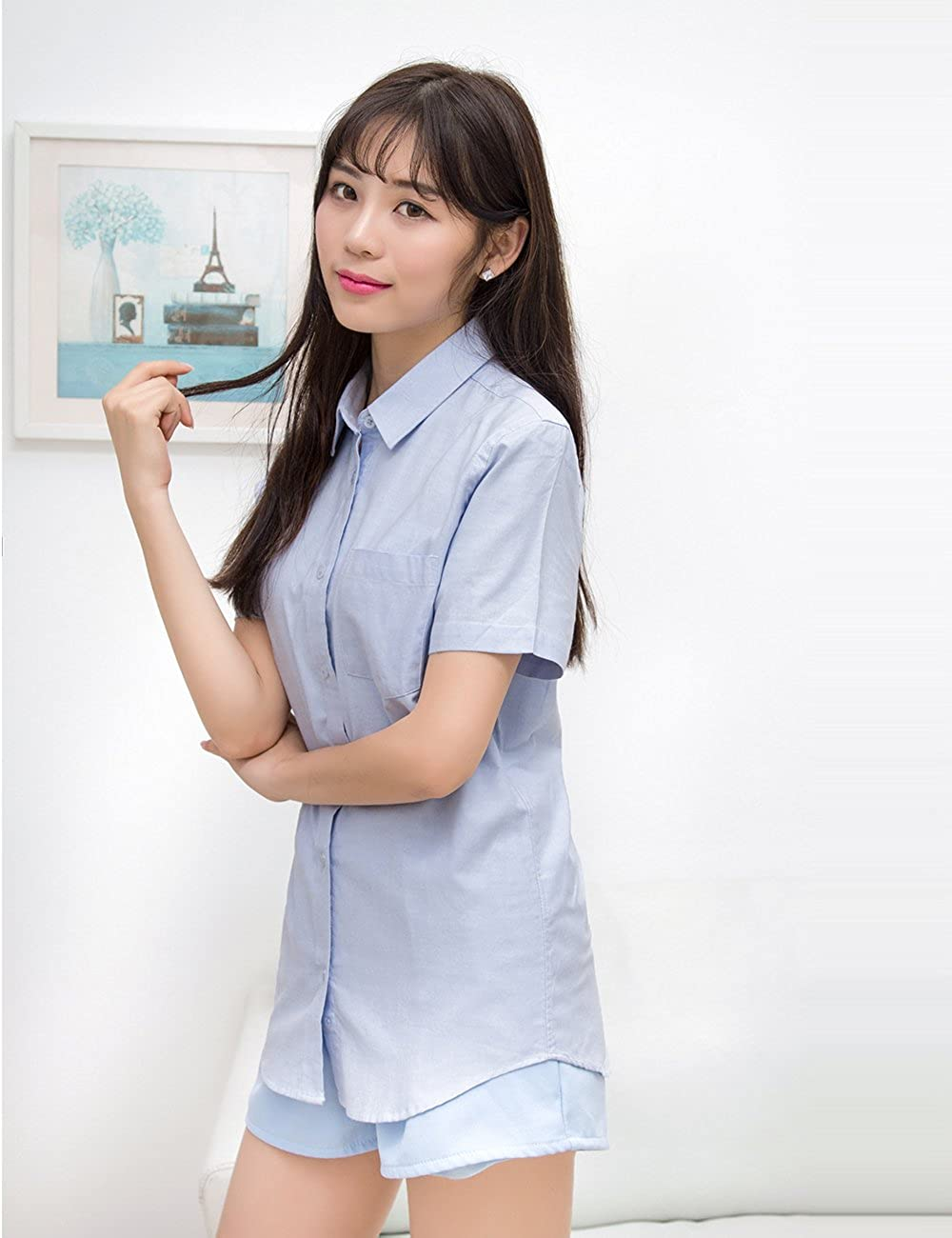 e5628c4508ae XI PENG Women's Chemise Tops Button Down Short Sleeve Work Dress Shirts  Blouses at Amazon Women's Clothing store: