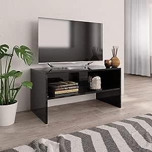 UnfadeMemory Mueble para TV,Mesa para TV,Estante de TV para Salón Dormitorio,Estilo Clásico,con Compartimento Abierto,Madera Aglomerada (Negro Brillante, 80x40x40cm): Amazon.es: Hogar