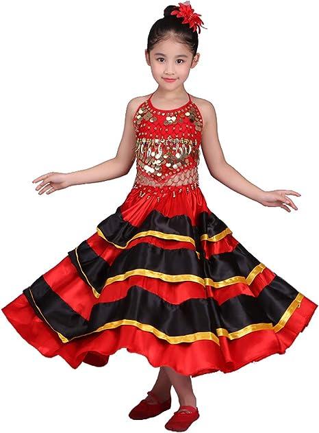 Grouptap Disfraz de Baile Flamenco Rojo para niñas españolas Rojas Traje de Baile Midi Swing españa española niños Mujeres Falda Superior Traje de Bailarina (Negro & Rojo, 110-130 cm): Amazon.es: Deportes y