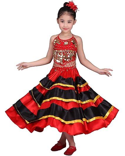 Grouptap Disfraz de Baile Flamenco Rojo para niñas españolas ...