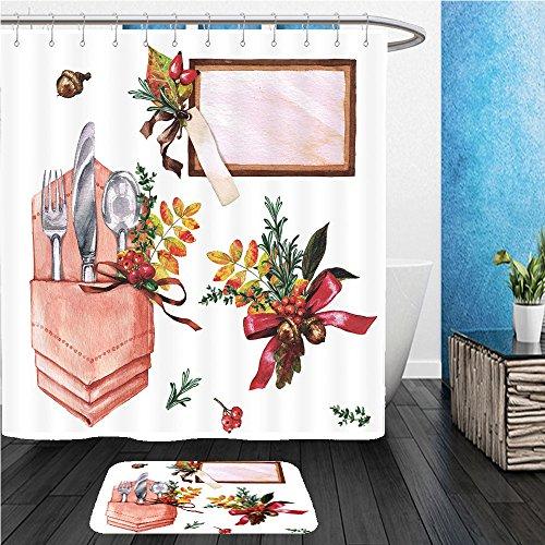 Beshowereb Bath Suit: ShowerCurtian & Doormat autumn table decorations place setting elements watercolor illustration - Water Chicago Tower Place