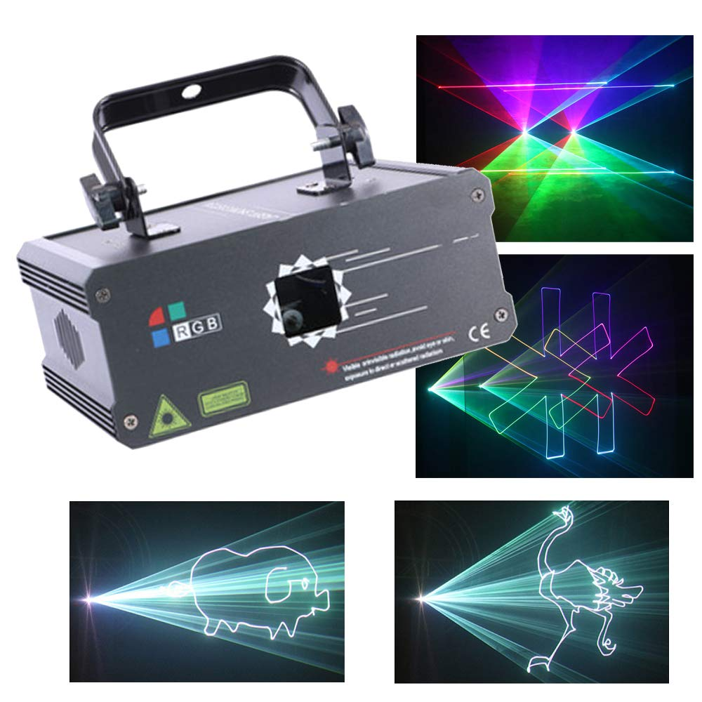 Sumger Professional DMX512 RGB LED Stage Lighting Full Color Animation DJ Disco Laser Scanner Projector Effect party lights illumination Show Light Sound Activated for Festival Bar Club Wedding by Sumger