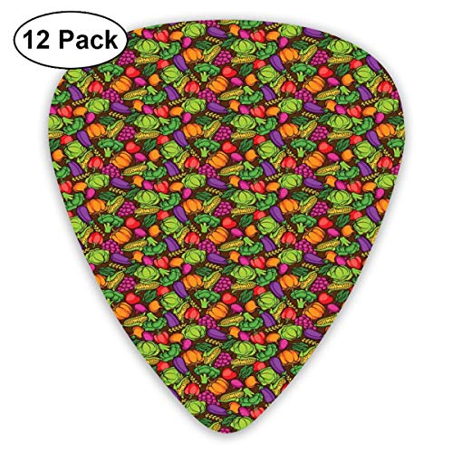Celluloid Guitar Picks - 12 Pack,Abstract Art Colorful Designs,Cartoon Style Seasonal Food Pattern With Broccoli Corn Lettuce Radish,For Bass Electric & Acoustic Guitars.