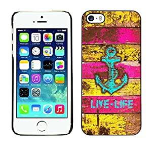 Soft Silicone Rubber Case Hard Cover Protective Accessory Compatible with Apple iPhone? 5 & 5S - sea boat rustic pink teal