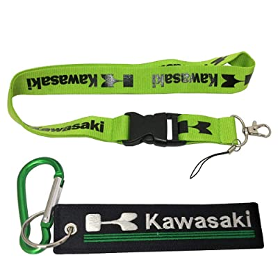 Ewein 1pc Green Lanyard + 1pc Tag Embroidered Keychain D Shape Carabiner Clip Motorcycle Superbike Scooter Car ATV UTV House Keys Chain Office ID Biker Accessories Works with (Kawasaki): Automotive