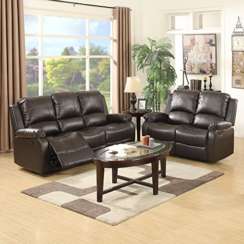 New 3+2 Seaters Sofa Set Loveseat Chaise Couch Recliner Leather Living Room Brown