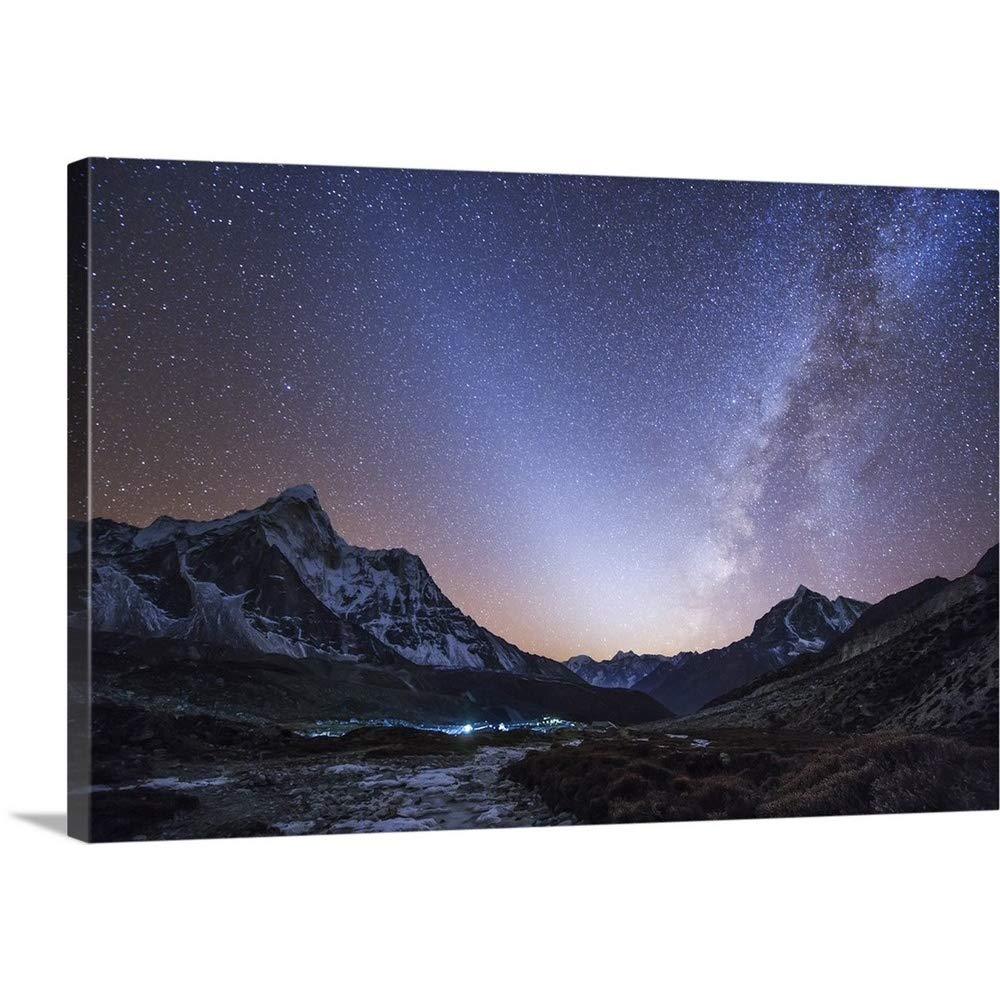 greatBIGcanvas Gallery-Wrapped Canvas entitled Milky Way and zodiacal light over the Himalayas in eastern Nepal by Jeff Dai 24''x16''