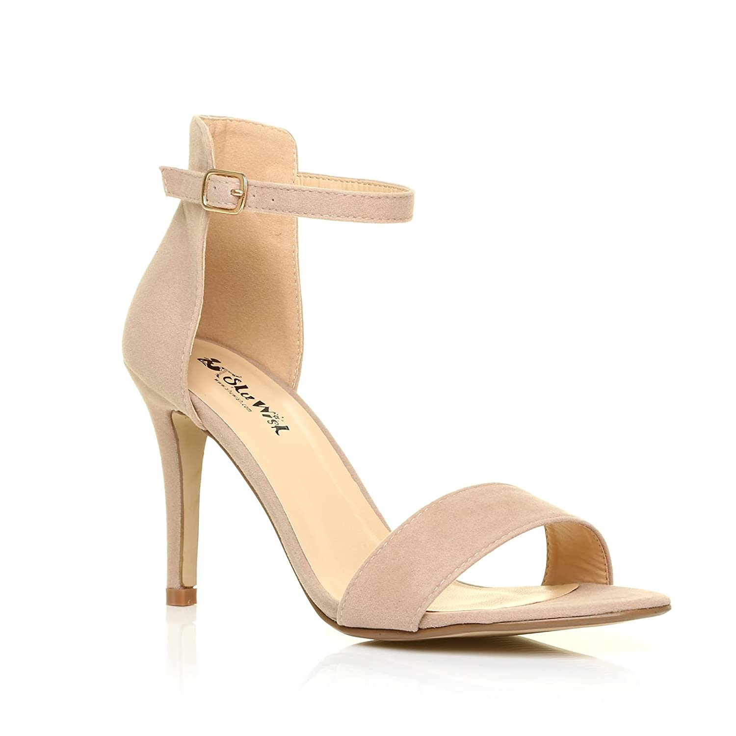 9cd9a165331 PAM Nude Suede Ankle Strap Barely There High Heel Sandals: Amazon.co ...