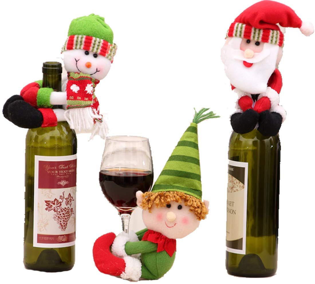 eeeb9a2900655 HESHIFENG. party   accessories Christmas Wine Bottle Cover Novelty Decoration  Santa Clause Hug Bottle (3pcs Wine Bottle Hug)  Amazon.co.uk  Kitchen   Home