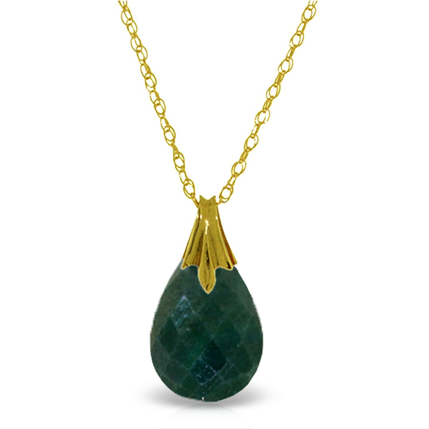 ALARRI 14K Solid Gold Necklace w/ Natural Diamondyed Green Sapphire with 24 Inch Chain Length