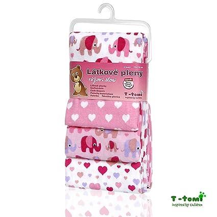 t-tomi elefantes de pañales de tela, color rosa