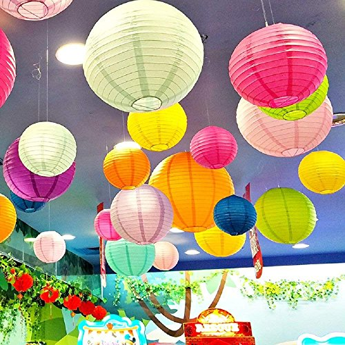 """LURICO 16 Pcs Colorful Paper Lanterns (Multicolor,Size of 4"""", 6"""", 8"""", 10"""") - Chinese/Japanese Paper Hanging Decorations Ball Lanterns Lamps for Home Decor, Parties, and Weddings by LURICO (Image #7)"""