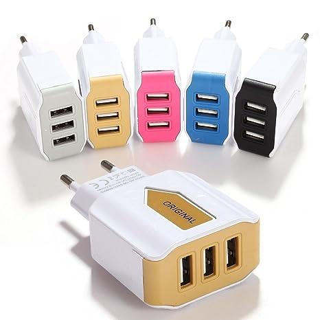 omdoxs Cargador USB de Pared con 3 Puertos Cargador de Red Universal 100-240V para iPhone, iPad, Samsung, BQ, Xiaomi, Motorola, Nokia y más.