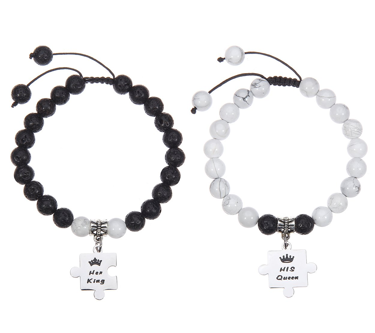 Kingmaruo King Queen Matching Couples Set 8mm Lava Rock & White Howlite Beads Adjustable Bracelet His Hers Jewelry