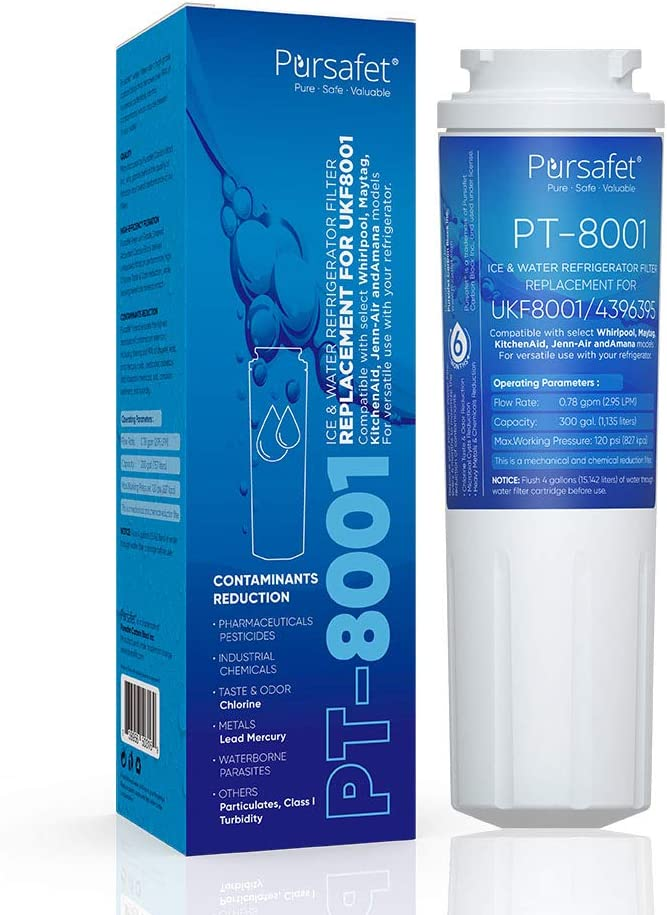 Pursafet UKF8001 Refrigerator Ice&Water Filter Replacement Filters Compatible with Maytag UKF8001P,UKF8001AXX,UKF8001AXX-750,UKF8001AXX-200, Whirlpool 4396395,469006,Filter 4,PUR,Puriclean II,EDR4RXD1