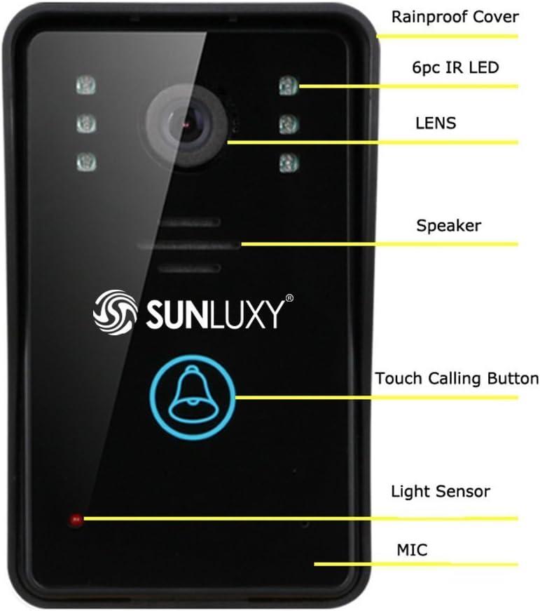 SUNLUXY® Wifi Timbre Videoportero con Mirilla Cámara de Visión ...