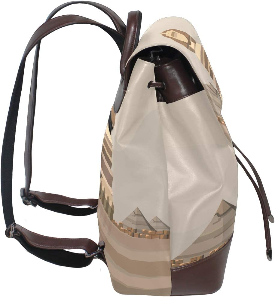 Womens Travel Backpack Sphinx Castle Tower Leather Shoulder Bags