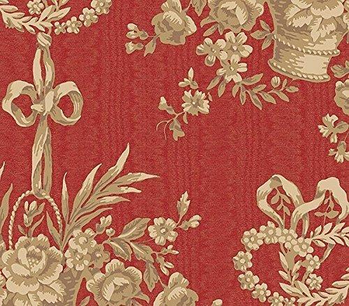 - Chesapeake QT19394 Basket Toile Wallpaper, Red