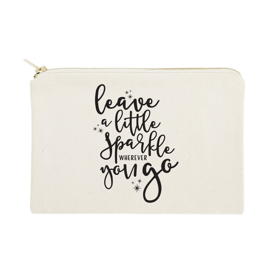 The Cotton & Canvas Co. Leave a Little Sparkle Wherever You Go Cosmetic Bag and Travel Make Up Pouch