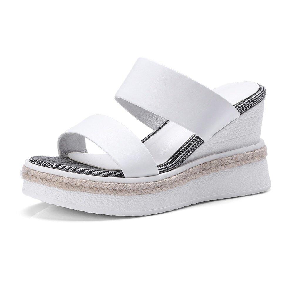 KJJDE Ladies Platform Shoes Chunky WSXY-L07 Wedge Heel Sandals Slipper B07C1TMG7M 36 EU|White