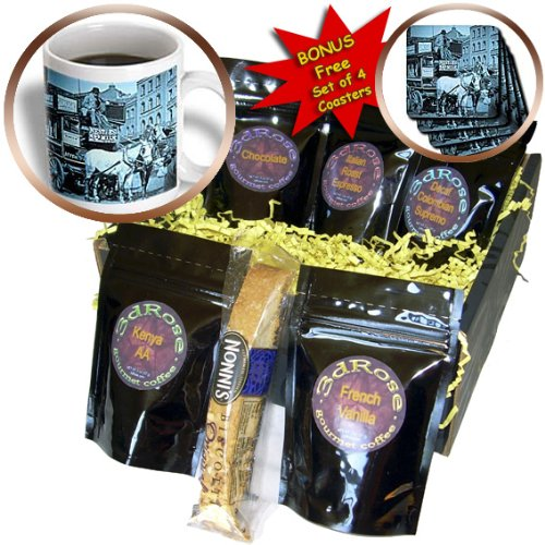Scenes from the Past Magic Lantern Slides - Kings Cross London Street Tram Taxi Cyan - Coffee Gift Baskets - Coffee Gift Basket (cgb_8491_1)