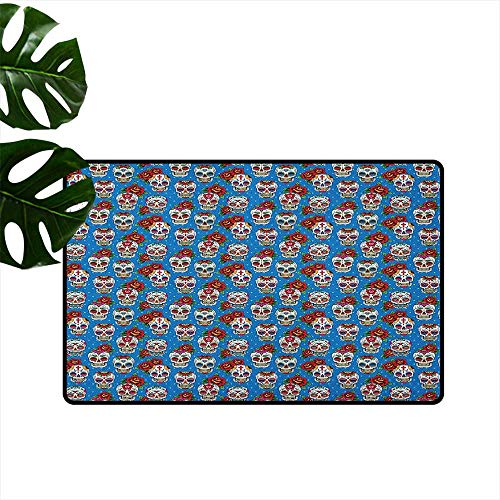 Anzhutwelve Sugar Skull,Universal Door Mat Pattern with Skulls and Red Roses in Floral Mexican Style Ornaments Print 16