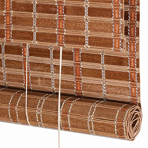 WUFENG Roll Up Blind Bamboo Blinds Wide Bamboo Rolling Shutter Curtain Shading Dust-proof Antistatic Tea House Restaurant Study Office Natural Bamboo Cut Off Restaurant (Color : C, Size : 50x150cm)