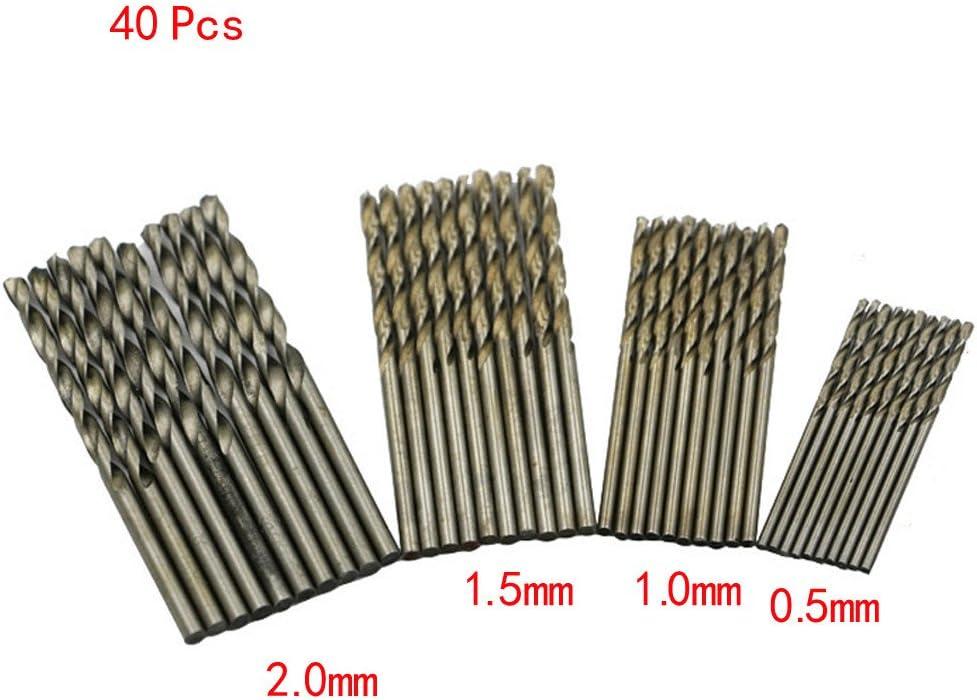 BGOO 40Pcs Mini Drill HSS Bit 0.5mm-2.0mm Straight Shank PCB Twist Drill Bits Set Twist Drill White Drill