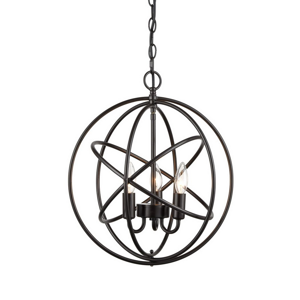 CLAXY Industrial Spherical Chandeliers 3 High Light Display Changeable Metal Cage Chain Pendant Fixture