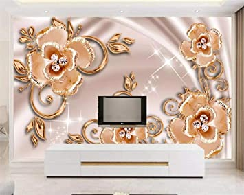 Amazon Com Nidezuiai Mural Customize 4d Wallpaper Luxury Golden Jewels And Flowers Plant Series Hd Print Art Print Wall Painting Poster Picture Large Silk Mural For Living Room Bedroom Home Decor Furniture Decor