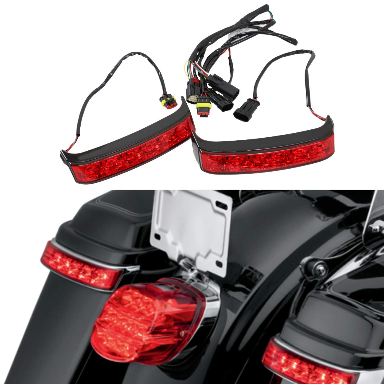 AUFER Saddlebag Tail Running Brake Light Turn Signal Light LED for Touring Street Glide Road King 2014-2019 by AUFER
