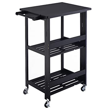 Giantex Foldable Wood Kitchen Cart Utility Serving Rolling Cart W/Casters  Black