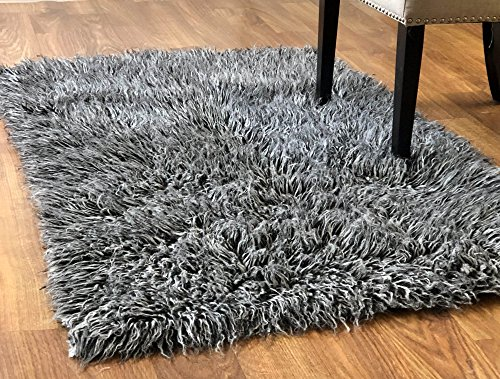 - Super Area Rugs-Cozy Collection-Flokati Wool Shag Rug (Black and White, 5ft. X 7ft.)