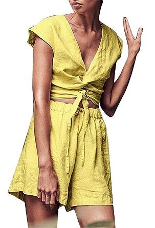 67a7691a233 Amazon.com  Jofemuho Women s Casual Sleeveless Crop Top   Biker Shorts  Cotton Linen Short Jumpsuit Romper  Clothing