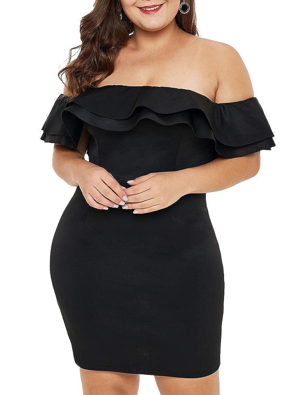 UINKKE Womens Plus Size Mini Dress Ruffle Off Shoulder Bodycon Party Dress