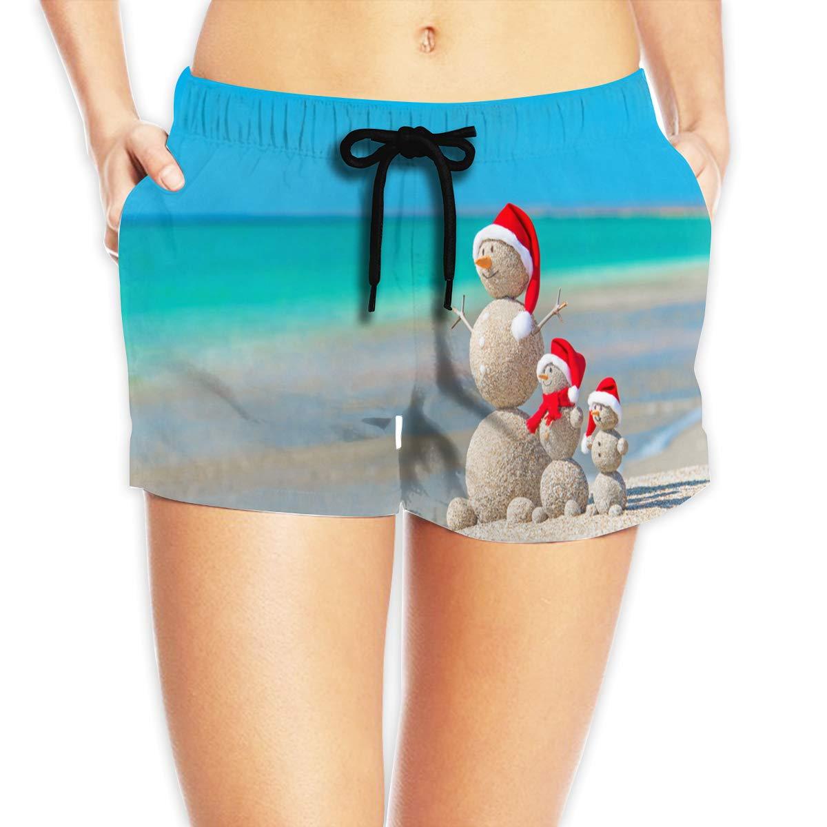 Eakllci Christmas Beach Womens Summer Beach Shorts Swim Boardshorts