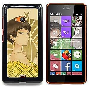 """Qstar Arte & diseño plástico duro Fundas Cover Cubre Hard Case Cover para Nokia Lumia 540 (Hombros Mujer Ojos marrones desnudo Sexy Arte"""")"""