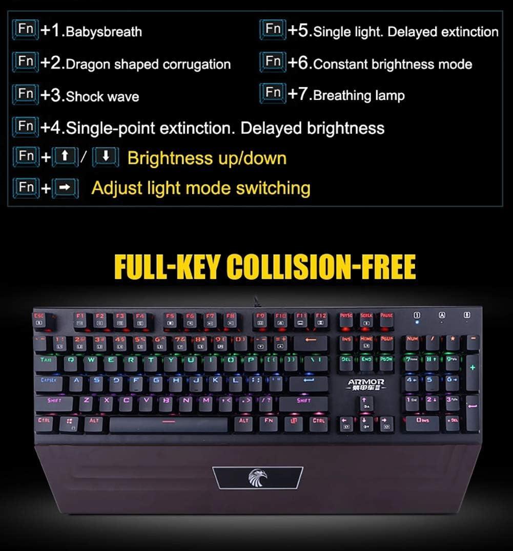 JXH 104 Keys Mechanical Gaming Keyboard,Waterproof Windows 7 Mac OS X Etc Windows Vista Windows XP Large Hand Rest Plug and Play,Compatible with Windows10,Windows 8