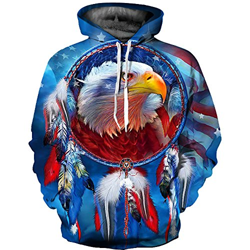 OYABEAUTY Men's Digital Print Sweatshirts Hooded Hoodie Pullover(XX-Large/XXX-Large,Eagle Dream)