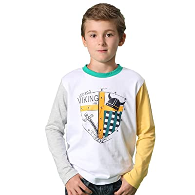 308a9aed9 Leo Lily Big Boys  Long Sleeve Casual Crew Neck T-Shirt Kids ...