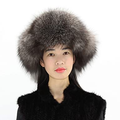 2de6f8d65 Women Winter Real Fox Fur Ear hat Warm Fashion Genuine Sheep Leather ...