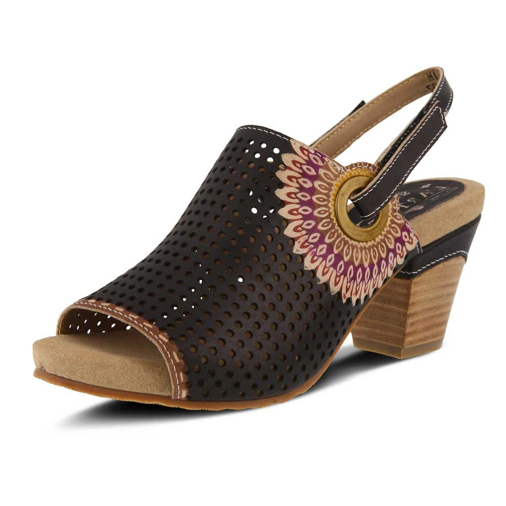 L'Artiste by Spring Step Women's Style Millie Black EURO Size 39 Leather Sandal