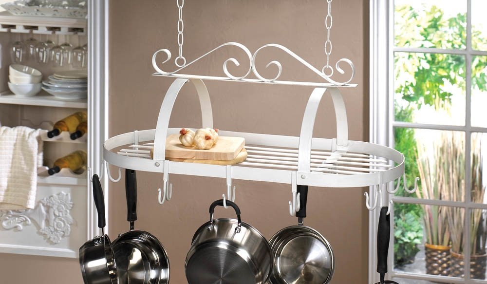 Hanging Pot Racks, Kitchen Overhead Pot Rack, Antique Iron Scrollwork Pot Rack