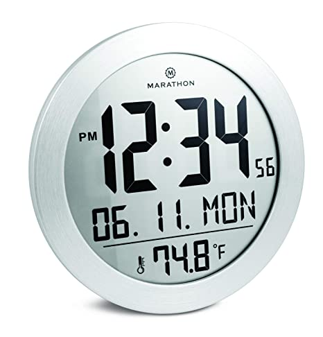 Marathon CL030069SS Round Digital Wall Clock with Date and Indoor Temperature. Large 8.5 Inches Diameter with Fold-Out Table Stand and Batteries ...