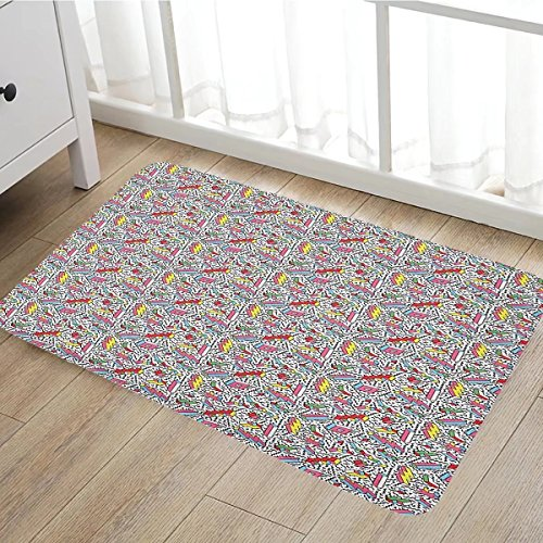 Funky Bath Mat for tub Memphis Pattern with Mosaic 3D Shapes Eighties and Nineties Style Colorful Design door mats for inside Bathroom Mat Non Slip Backing20