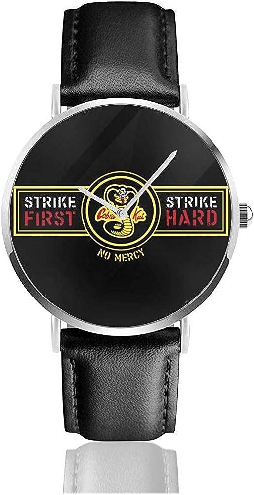 Unisex Business Casual Karate Kid Strike First Strike Relojes Duros Reloj de Cuero de Cuarzo