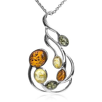 Baltic Honey Amber Sterling Silver Classic Pendant Necklace 46cm liNgkWB