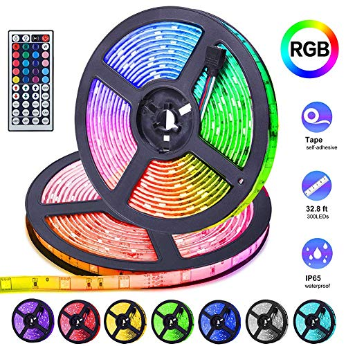 UMICKOO LED Strip Lights Kit,12V 5A RGB Color Changing LED Strips with 300 SMD5050 Leds and IR Remote Controller,32.8ft 10m